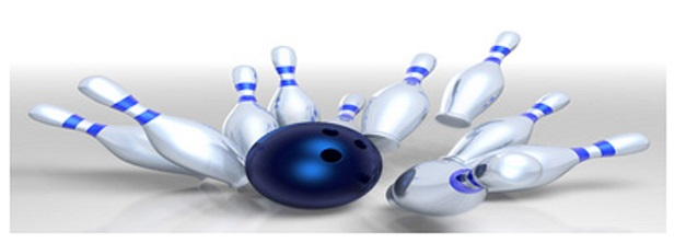 Bowling ball hitting pins